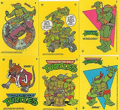 Ninja Turtles / Teenage Mutant Hero Turtles - 6 Sticker von 1989 - (TU2)