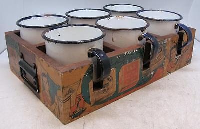 6 x Vintage 1970s Enamelled Tin Mugs in Wooden Tray Box - Indian Decoration