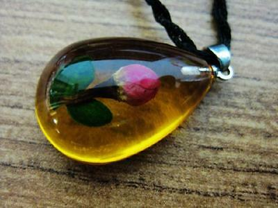 Vintage Necklace with Resin Real Flower Rose Bud Pendant