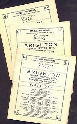 BRIGHTON Summer Meeting 1952. Cards for all Three Days. GC. Free UK Postage