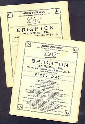 BRIGHTON, July Meeting 1952. Cards for 1st & 2nd Day. GC. Free UK Postage