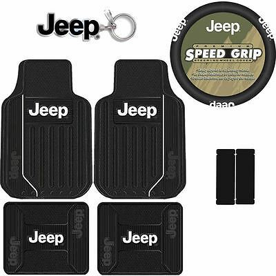 8pcs New Jeep Elite Style All Weather Floor Mats Steering Wheel Cover Car Truck