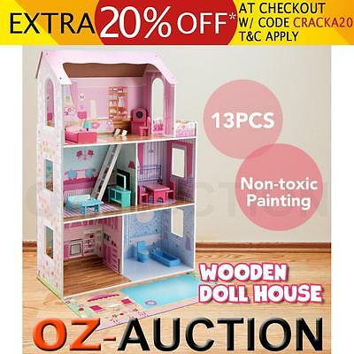 Large Wooden Dolls Doll House 3 Level Kids Pretend Play Toys Full Furniture Pink