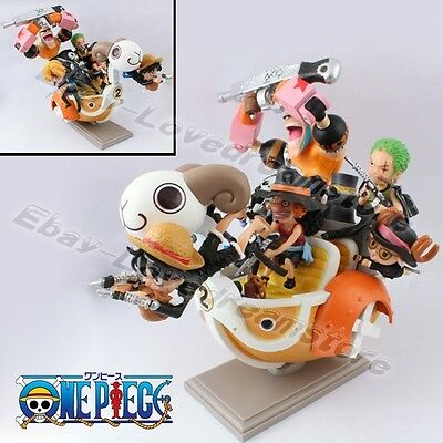 One Piece Grand Pirate Ship Going Merry Luffy/Chooper/Franky 13cm PVC Figure