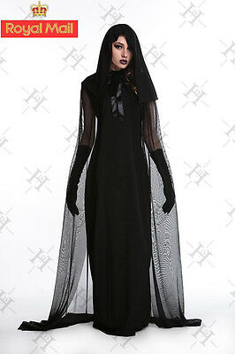 New Ladies Womens The Woman in Black Halloween Costume Fancy Party Dress 2017