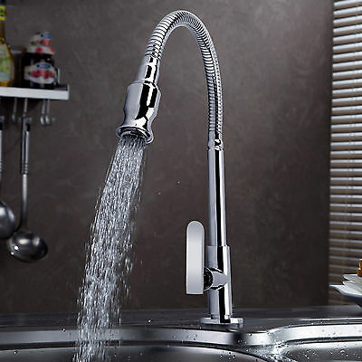 Modern Spray Kitchen Single Lever Tap Sink Chrome Faucets Spout New