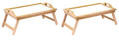 Home & Loft Bamboo Folding Breakfast In Bed Trays with Handles (2 Pack)