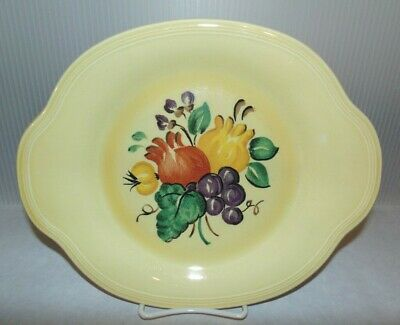 Mid Century Vintage Edwin M Knowles Semi Vitreous Yellow Fruit Platter 43-11