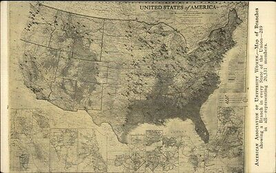 Map - American Assoc of University Women Branches c1920 Postcard