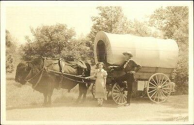 Buffalo Drawn Covered Wagon Mr. Leland Wilson & Choctaw Indian 1938 RPPC