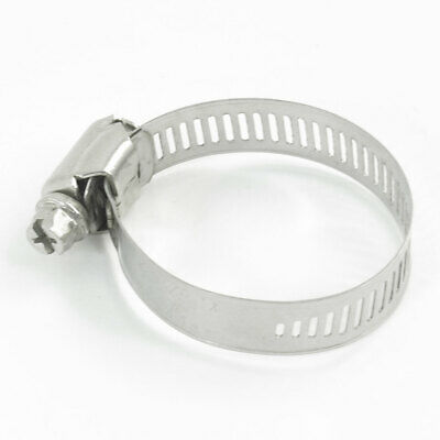Adjustable Silver Tone Stainless Steel Band 21-44mm Worm Drive Hose Clamp