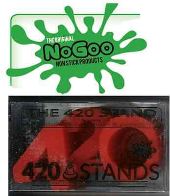 "RED ""NOGOO BRAND 420 STAND"".....SILICONE holds 14mm or 18mm slide and tool rest"
