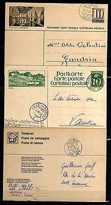 L173-SWITZERLAND-SUISSE-LOT 3 Cancelled SWISS POSTCARDS.3 Tarjetas de SUIZA.