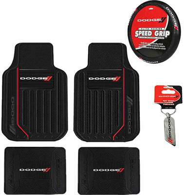 New 8pc Dodge Elite Logo Car Truck Front Back Floor Mats Steering Wheel Cover