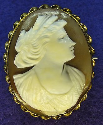 Antique Carved Shell CAMEO GF Twisted Frame Portrait Lady Raised Conch Italy Pin