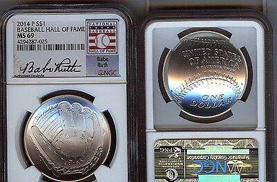 2014-P Baseball Silver $1 - Ngc  Ms69  Mint State 69 - Babe Ruth -  Hall Of Fame