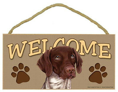 GERMAN SHORTHAIRED POINTER Dog 5 x 10 Wood WELCOME SIGN Plaque USA Made