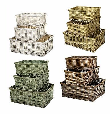 e2e Wicker Shallow Fruit Storage Christmas Xmas Gift Hamper Display Basket
