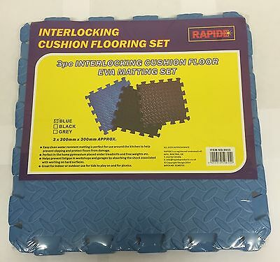 3 X 3pc Interlocking Cushion Floor Mat Set-Mats-Interlocking Mats Cushion BLUE
