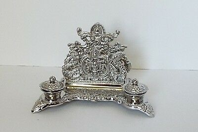 Ornate Silver Victorian Reproduction DESK TOP LETTER HOLDER with INK WELLS