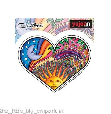 Dan Morris Night Day Heart Sticker Celestial Sun Stars Moon Flowers Rainbow
