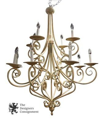 """Vintage French Provincial 12 Light Chandelier Wrought Iron White Shabby 44"""""""