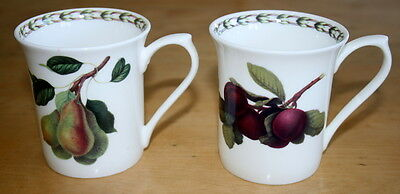 """Queens Hooker's Fruit - 2 Mugs Plum and Pear 3.25"""" H Fine China Designed ENGLAND"""