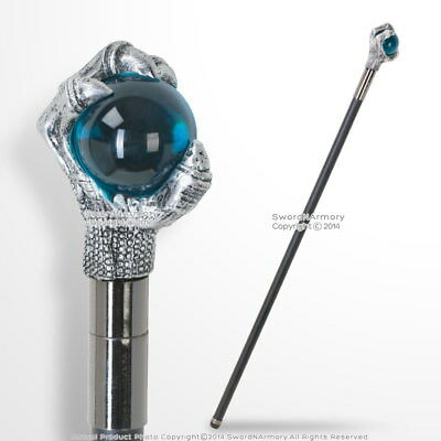 "34"" Fantasy Hawk Talon Claw Blue Ball Head Handle Walking Cane Stick"