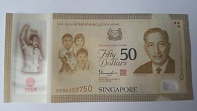 2015 SINGAPORE $50 polymer Commemorative Note SG50 50th Year Independence