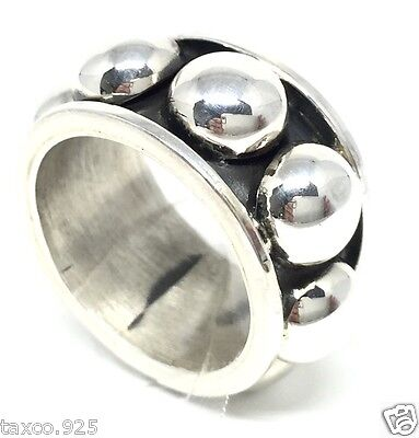 Taxco Mexican 925 Sterling Silver Textured Beaded Beads Ring Mexico
