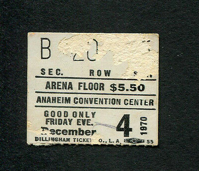 Original 1970 Elton John Concert Ticket Stub Anaheim Tumbleweed Connection