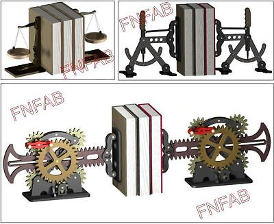 Steam punk book ends CNC dxf files on CD Includes 3 styles Industrial age art