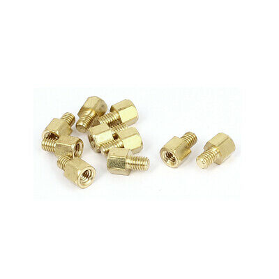 M3x4mm+4mm Male to Female Thread 0.5mm Pitch Brass Hex Standoff Spacer 10Pcs