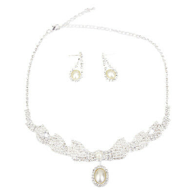 Wedding Bridal Jewelry Crystal Rhinestone Pearl Pendant Necklace Earring Set