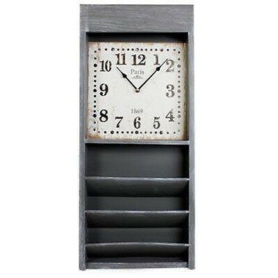 Wall Clock With Magazine Newspaper Storage Rack Unit Wooden Retro Compartment