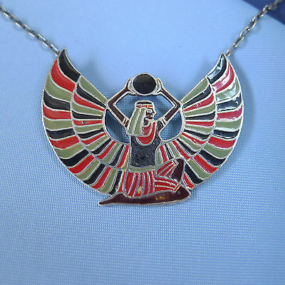 Fine Enamel Sterling Silver Egyptian Revival Necklace / Art Deco Pendant