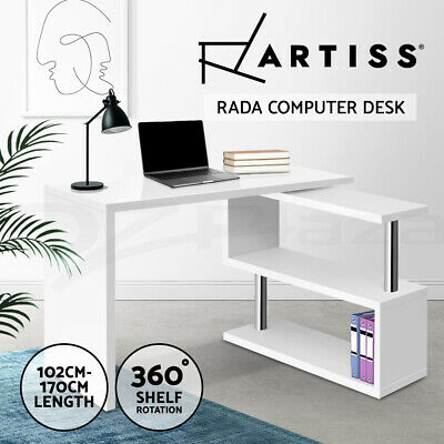Artiss Office Computer Desk Study Corner Table w/ Bookshelf Student White Home