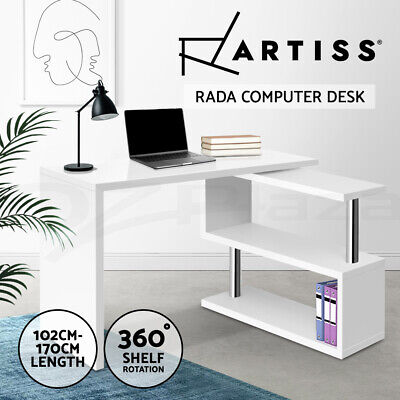 Office Computer Desk Corner Table w/ Bookshelf Study Student Rotary White Home