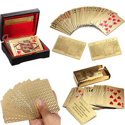24K Karat Gold Foil Plated Game Poker Playing Cards With Box + Certificate Hot