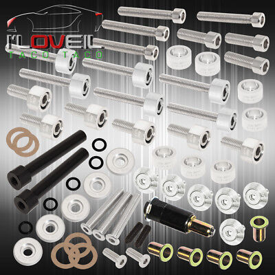 D-Series Acura Cam Cap/Cup/Header/M8 Fender Drivet/Valve Cover Washer Kit Silver