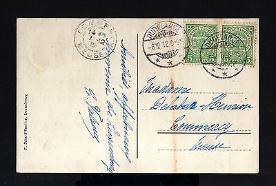 5374-LUXEMBOURG-OLD POSTCARD DURELANGE to MEUSSE (france)1912.WWII.Carte postale
