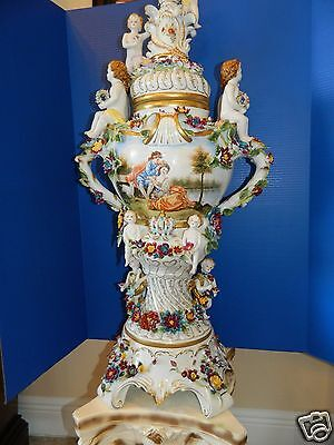 Dresden Very Large Beautiful German Porcelain Cherub & Floral Covered Vase/urn