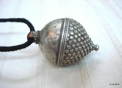 vintage antique collectible tribal old silver spiked pendant necklace