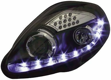 Fiat Grande Punto 05-09 Black DRL Devil Angel Eyes Headlights with LED Indicator