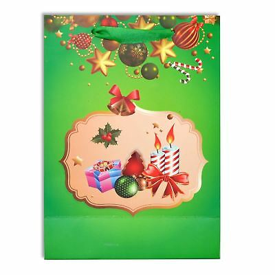 3 x Small Luxurious Christmas Gift Bag Green-Decorative Glitter Paper Bag