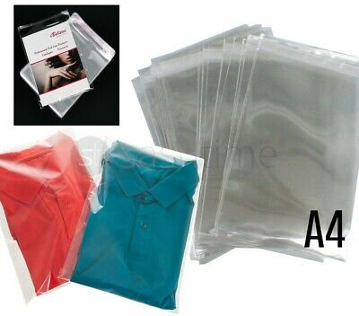 100 A4 Clear Cello Display Bags Self Seal Cards/Prints/Sweet Candy Cellophane UK