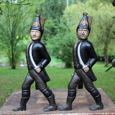 Antique Cast Iron Andirons Hessian Soldier Fireplace