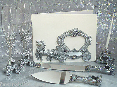 Fairytale Wedding Coach Guest Book Pen Set Toasting Flutes Cake Knife Server