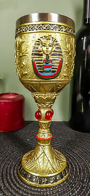 Golden Egyptian Pharaoh King Tut Resin Wine Goblet Chalice Stainless Steel Liner