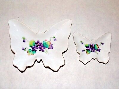 Mid Century Lefton China Nesting Porcelain Butterfly Dish Set 2 Purple Flowers